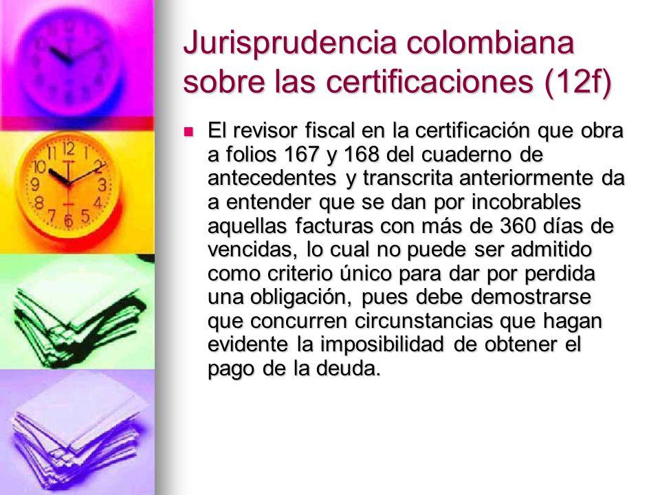 Jurisprudencia colombiana sobre las certificaciones (12f)