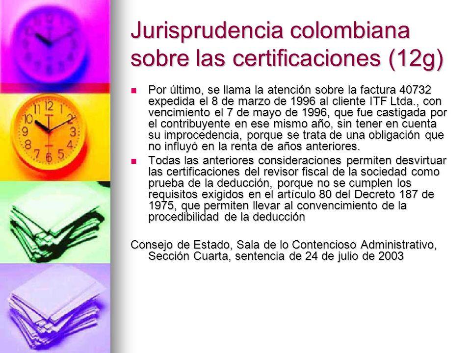 Jurisprudencia colombiana sobre las certificaciones (12g)