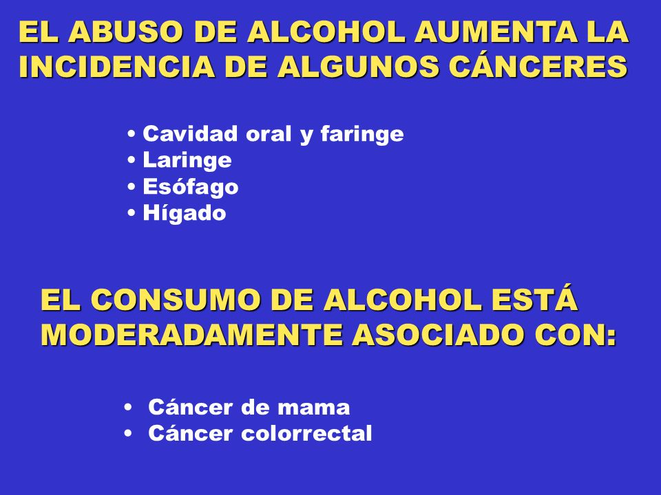 EL ABUSO DE ALCOHOL AUMENTA LA INCIDENCIA DE ALGUNOS CÁNCERES