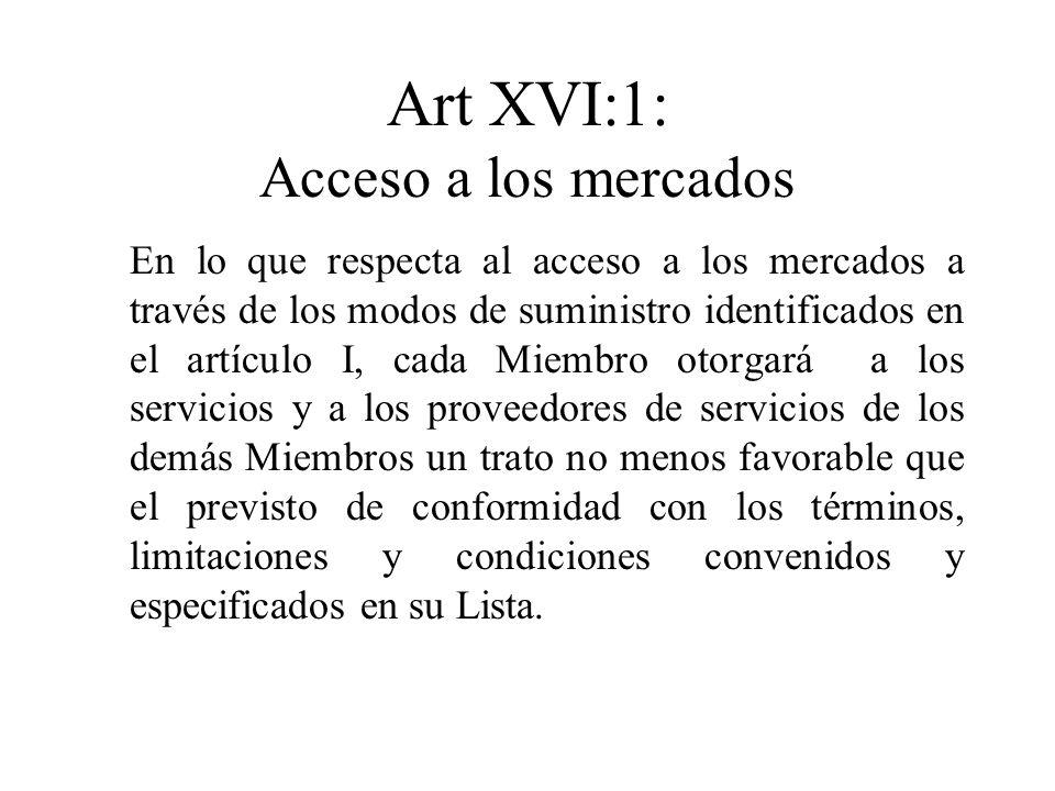 Art XVI:1: Acceso a los mercados