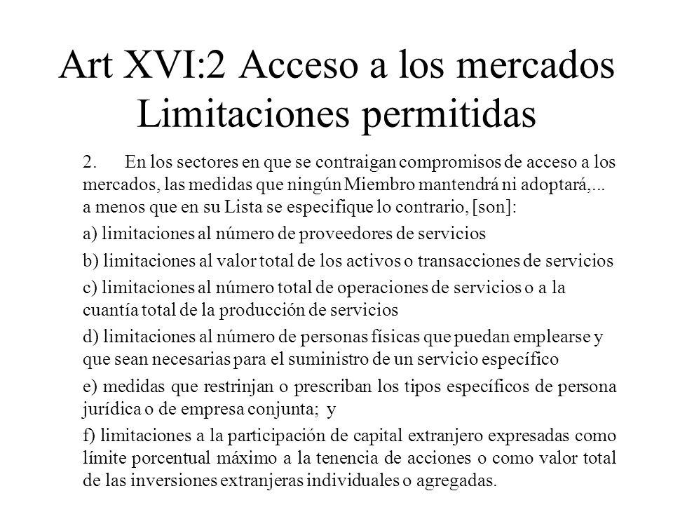 Art XVI:2 Acceso a los mercados Limitaciones permitidas
