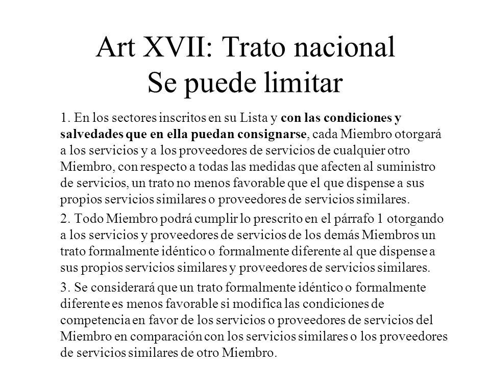 Art XVII: Trato nacional Se puede limitar