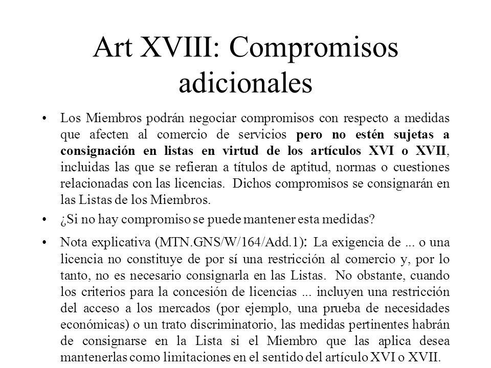 Art XVIII: Compromisos adicionales
