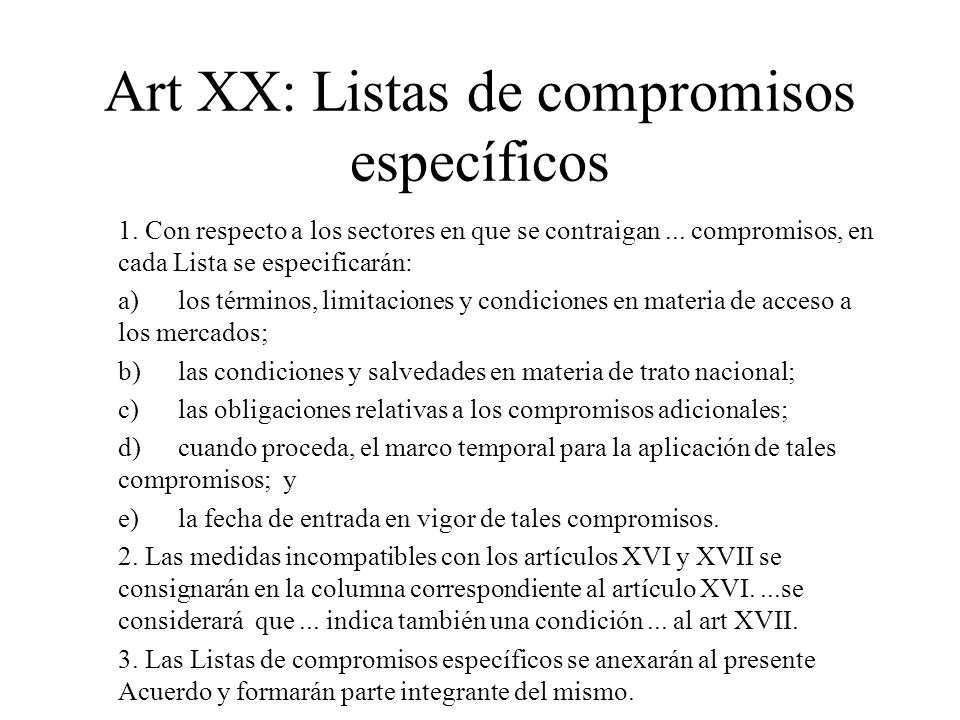 Art XX: Listas de compromisos específicos