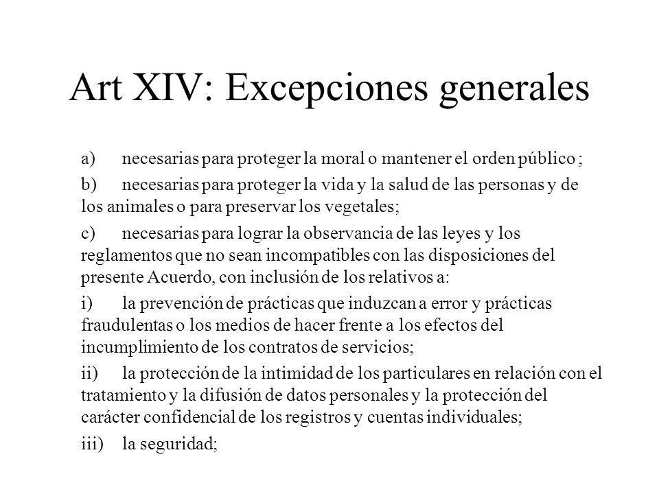 Art XIV: Excepciones generales