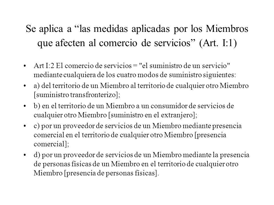 Se aplica a las medidas aplicadas por los Miembros que afecten al comercio de servicios (Art. I:1)