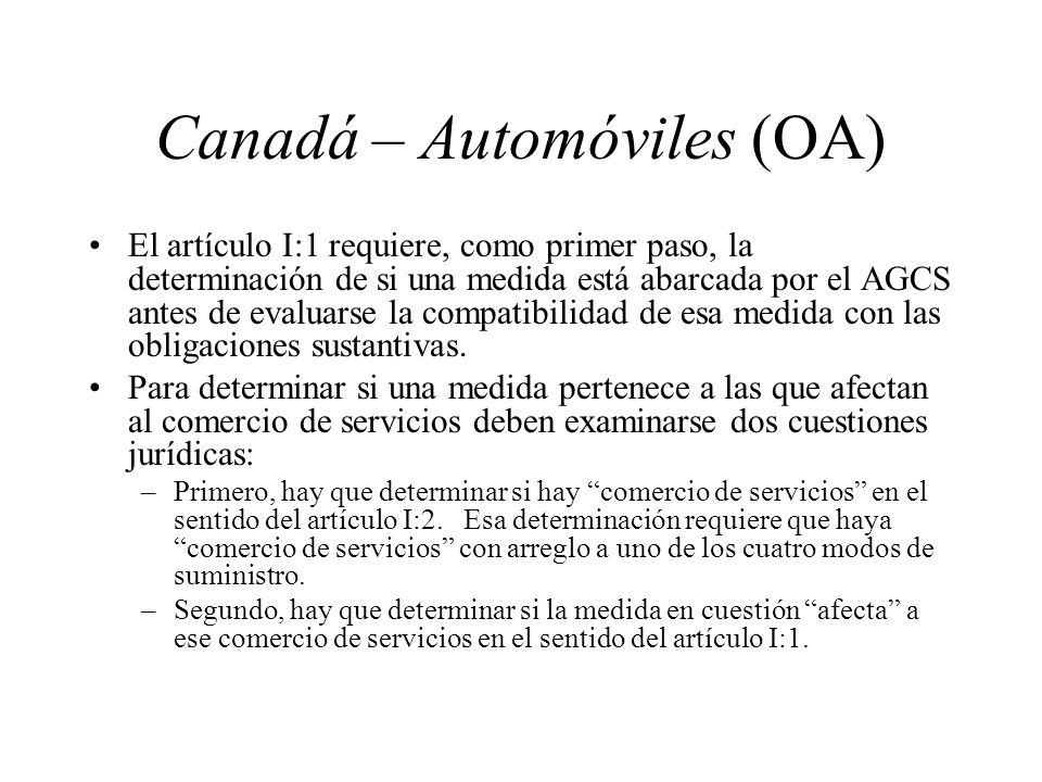 Canadá – Automóviles (OA)