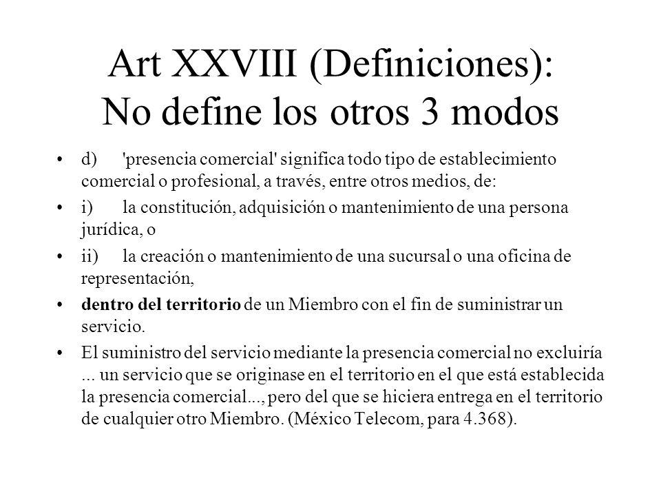 Art XXVIII (Definiciones): No define los otros 3 modos