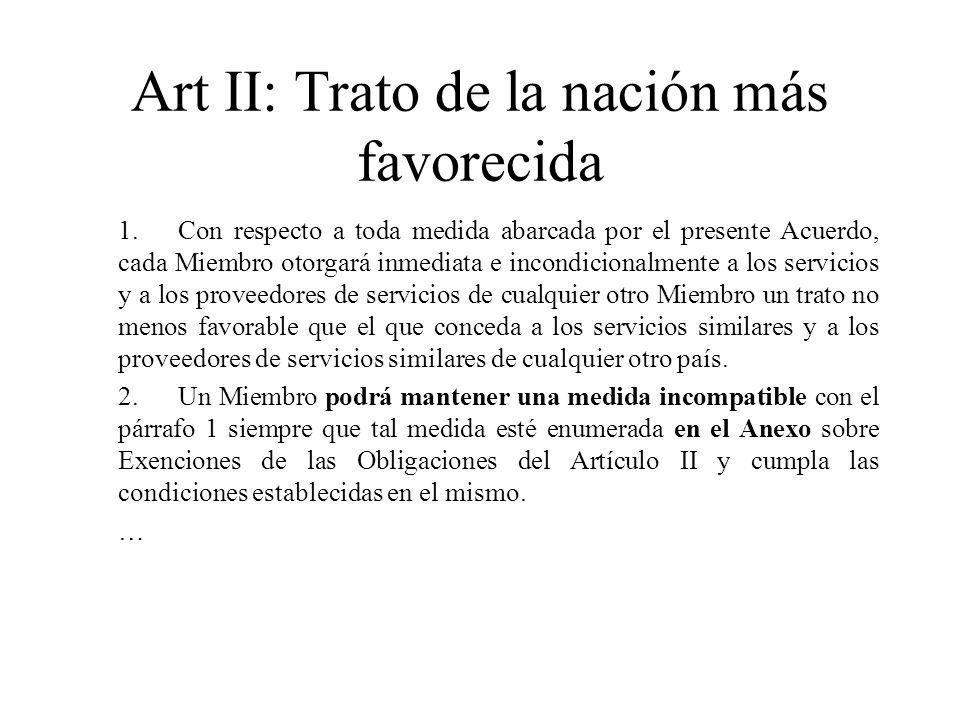 Art II: Trato de la nación más favorecida