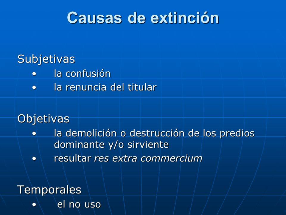 Causas de extinción Subjetivas Objetivas Temporales la confusión