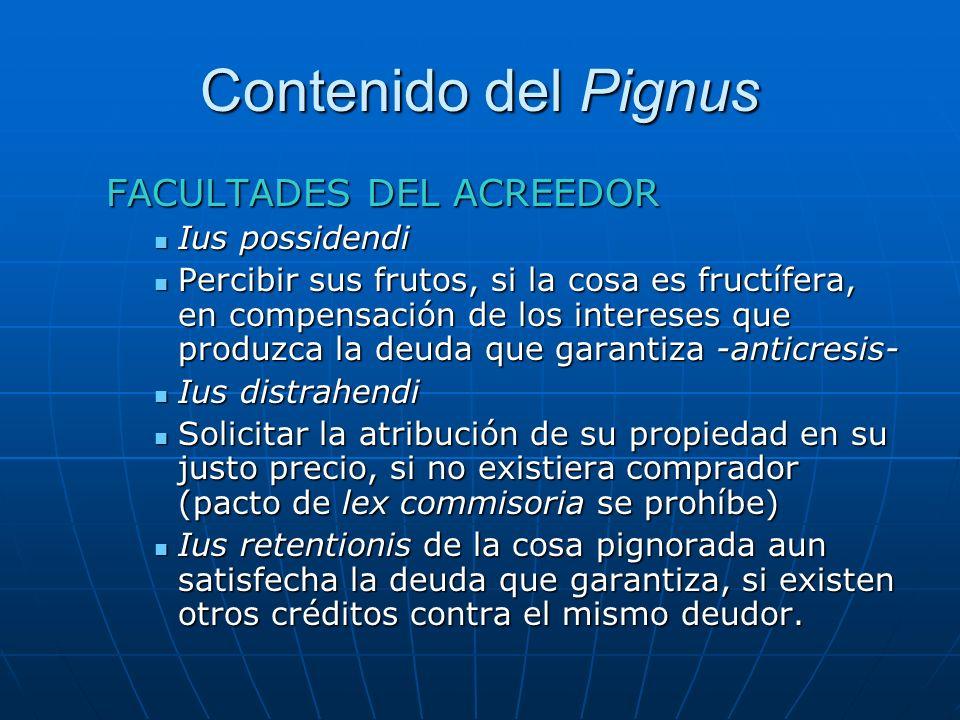 Contenido del Pignus FACULTADES DEL ACREEDOR Ius possidendi