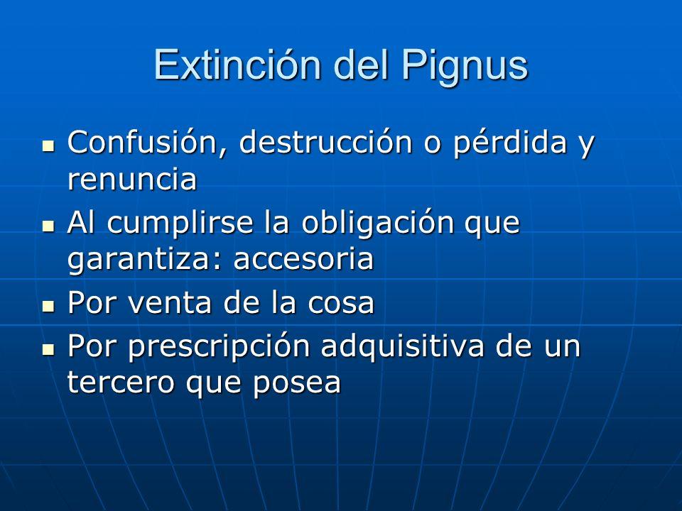 Extinción del Pignus Confusión, destrucción o pérdida y renuncia