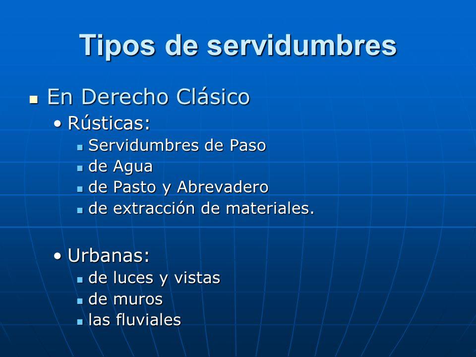 Tipos de servidumbres En Derecho Clásico Rústicas: Urbanas: