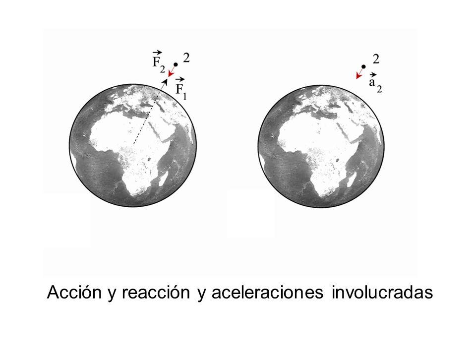 Acción y reacción y aceleraciones involucradas