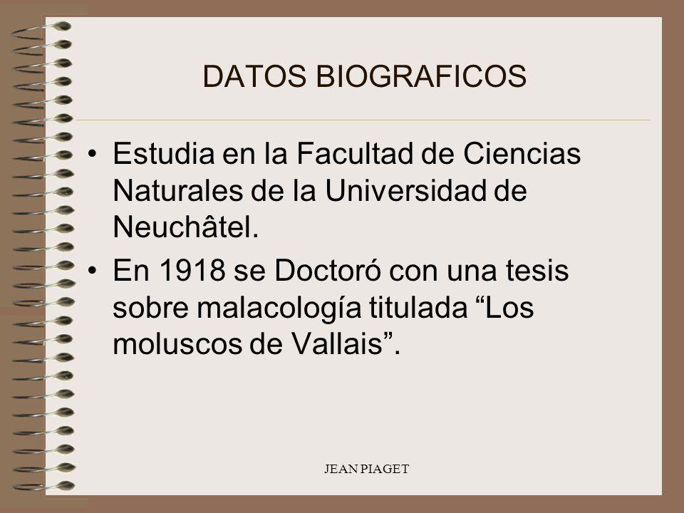 DATOS BIOGRAFICOS Estudia en la Facultad de Ciencias Naturales de la Universidad de Neuchâtel.