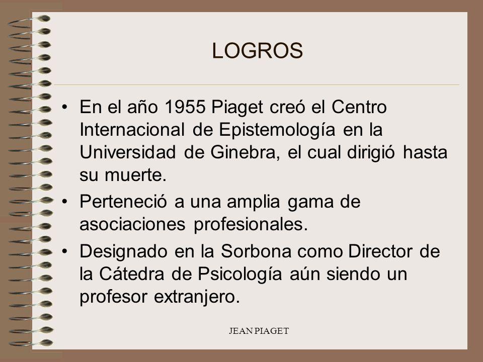 LOGROS En el año 1955 Piaget creó el Centro Internacional de Epistemología en la Universidad de Ginebra, el cual dirigió hasta su muerte.