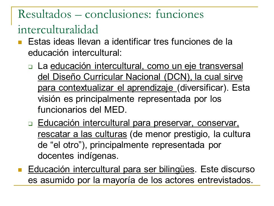 Resultados – conclusiones: funciones interculturalidad