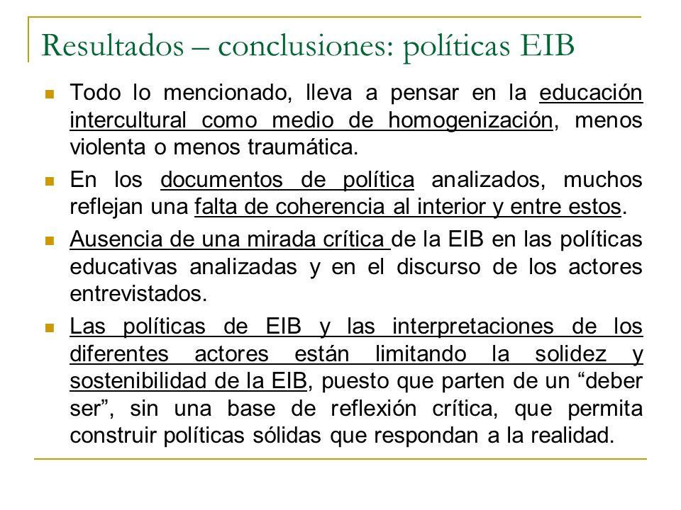 Resultados – conclusiones: políticas EIB