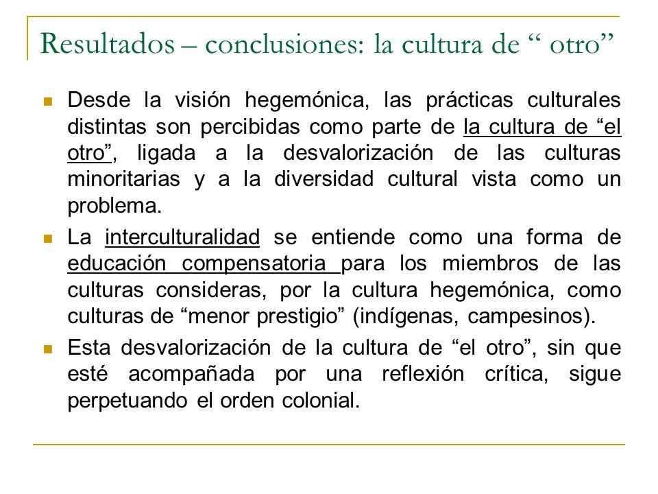 Resultados – conclusiones: la cultura de otro
