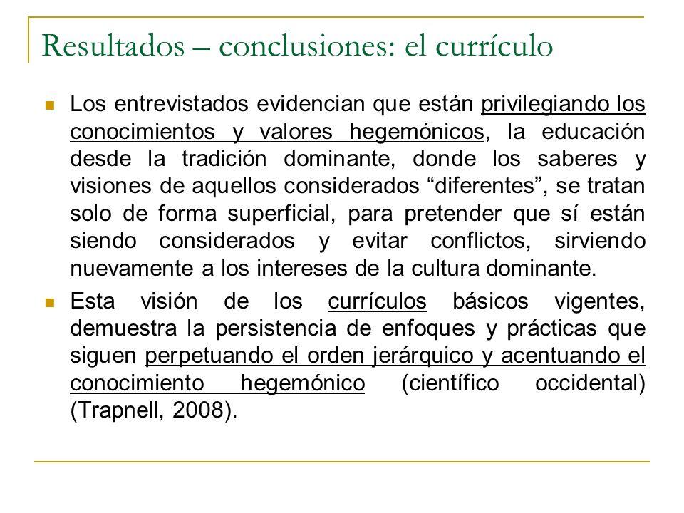Resultados – conclusiones: el currículo