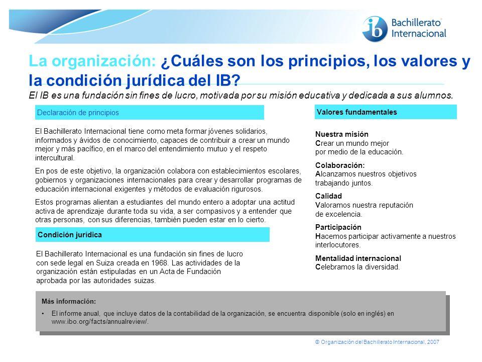 La organización: ¿Cuáles son los principios, los valores y la condición jurídica del IB