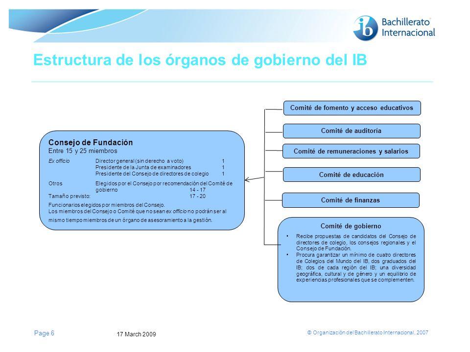 Estructura de los órganos de gobierno del IB