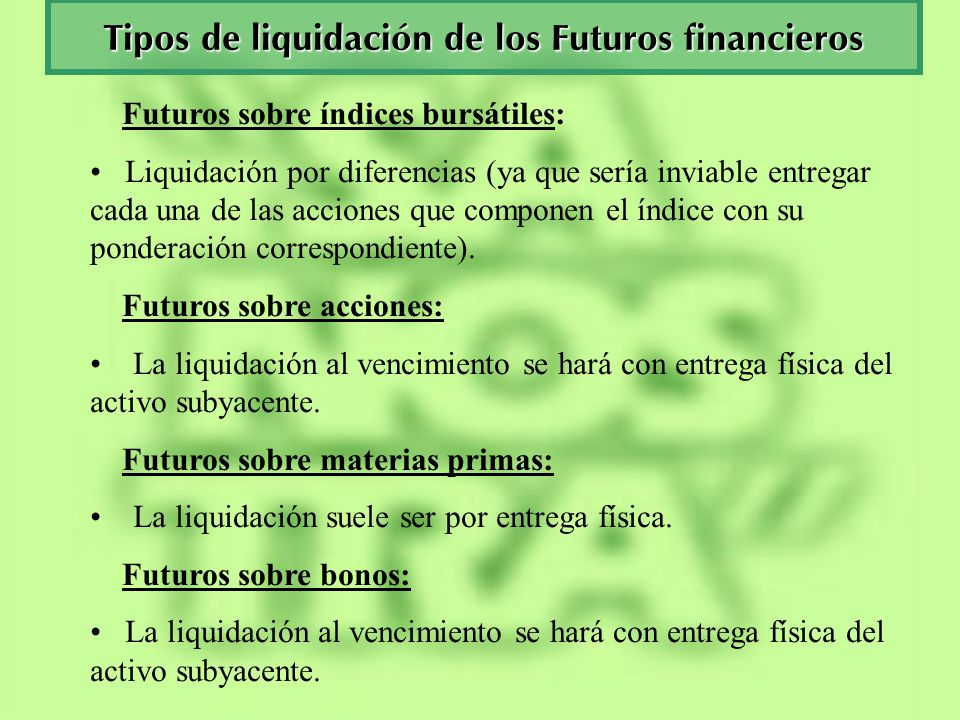 Tipos de liquidación de los Futuros financieros