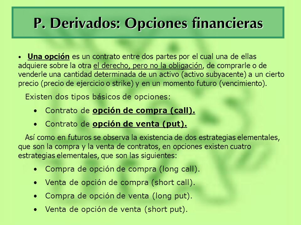 P. Derivados: Opciones financieras