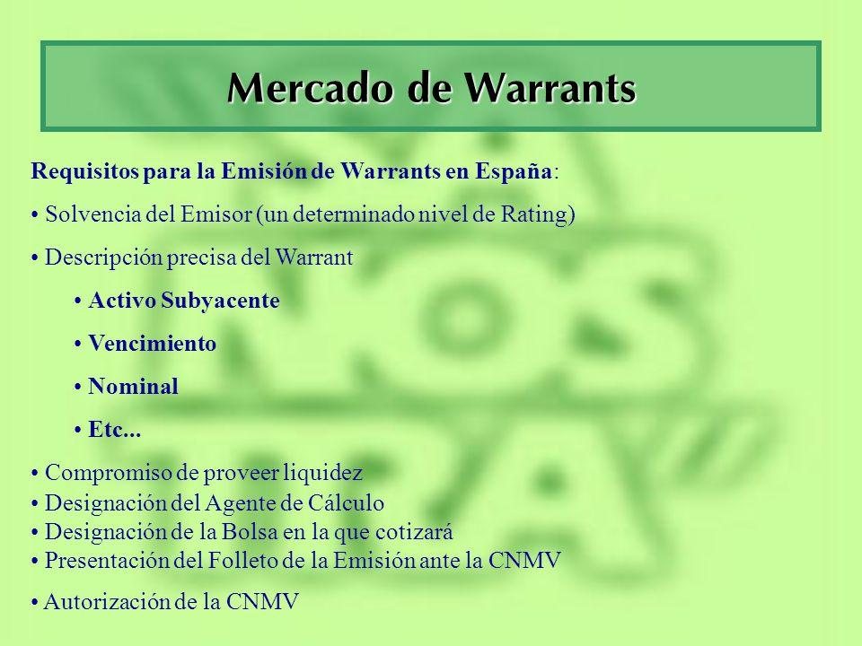 Mercado de Warrants Requisitos para la Emisión de Warrants en España: