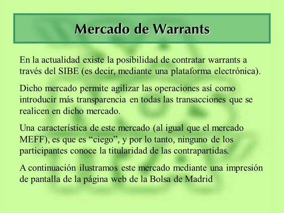 Mercado de WarrantsEn la actualidad existe la posibilidad de contratar warrants a través del SIBE (es decir, mediante una plataforma electrónica).