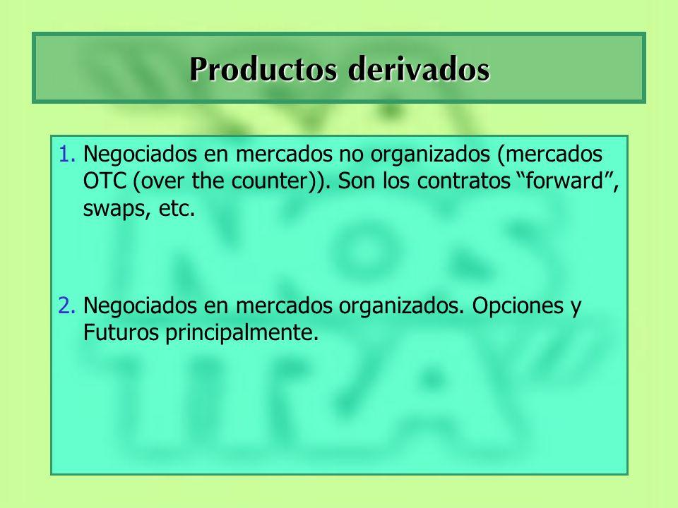 Productos derivadosNegociados en mercados no organizados (mercados OTC (over the counter)). Son los contratos forward , swaps, etc.