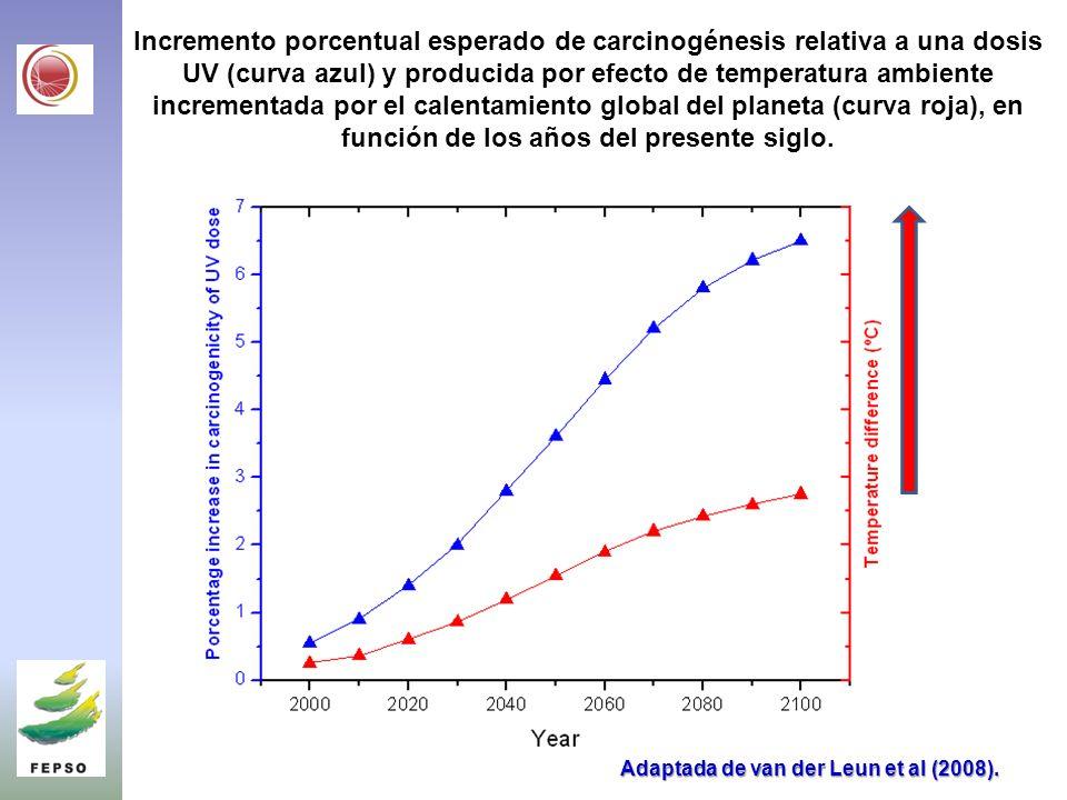 Incremento porcentual esperado de carcinogénesis relativa a una dosis UV (curva azul) y producida por efecto de temperatura ambiente incrementada por el calentamiento global del planeta (curva roja), en función de los años del presente siglo.