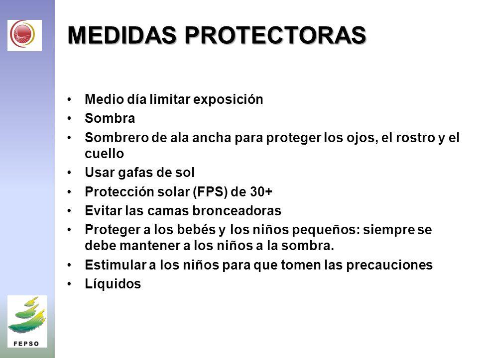 MEDIDAS PROTECTORAS Medio día limitar exposición Sombra