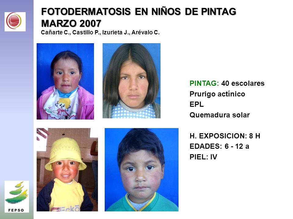 FOTODERMATOSIS EN NIÑOS DE PINTAG MARZO 2007 Cañarte C. , Castillo P