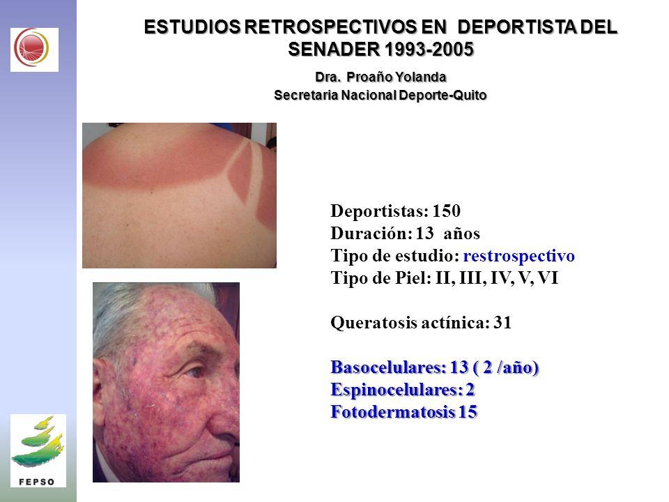 ESTUDIOS RETROSPECTIVOS EN DEPORTISTA DEL SENADER 1993-2005 Dra