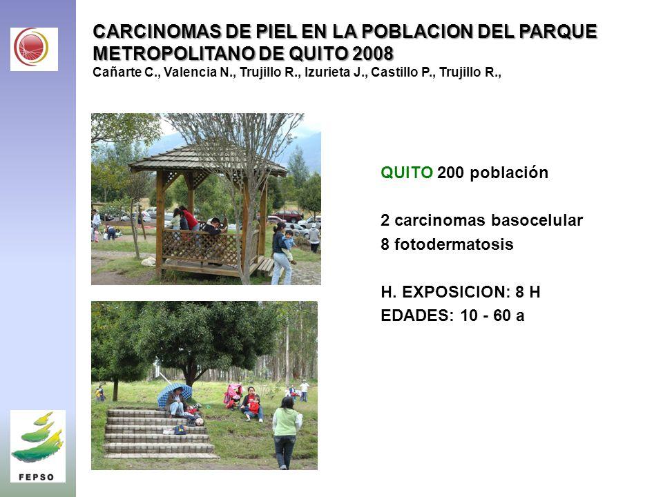 CARCINOMAS DE PIEL EN LA POBLACION DEL PARQUE METROPOLITANO DE QUITO 2008 Cañarte C., Valencia N., Trujillo R., Izurieta J., Castillo P., Trujillo R.,