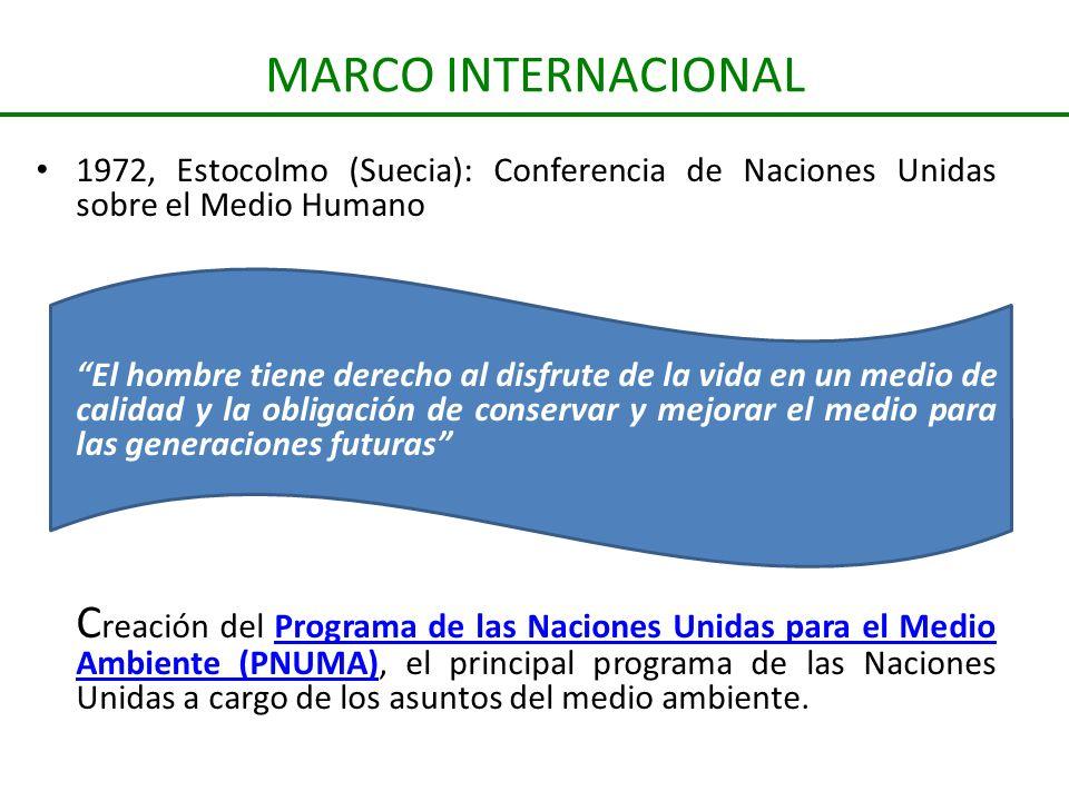 MARCO INTERNACIONAL 1972, Estocolmo (Suecia): Conferencia de Naciones Unidas sobre el Medio Humano.