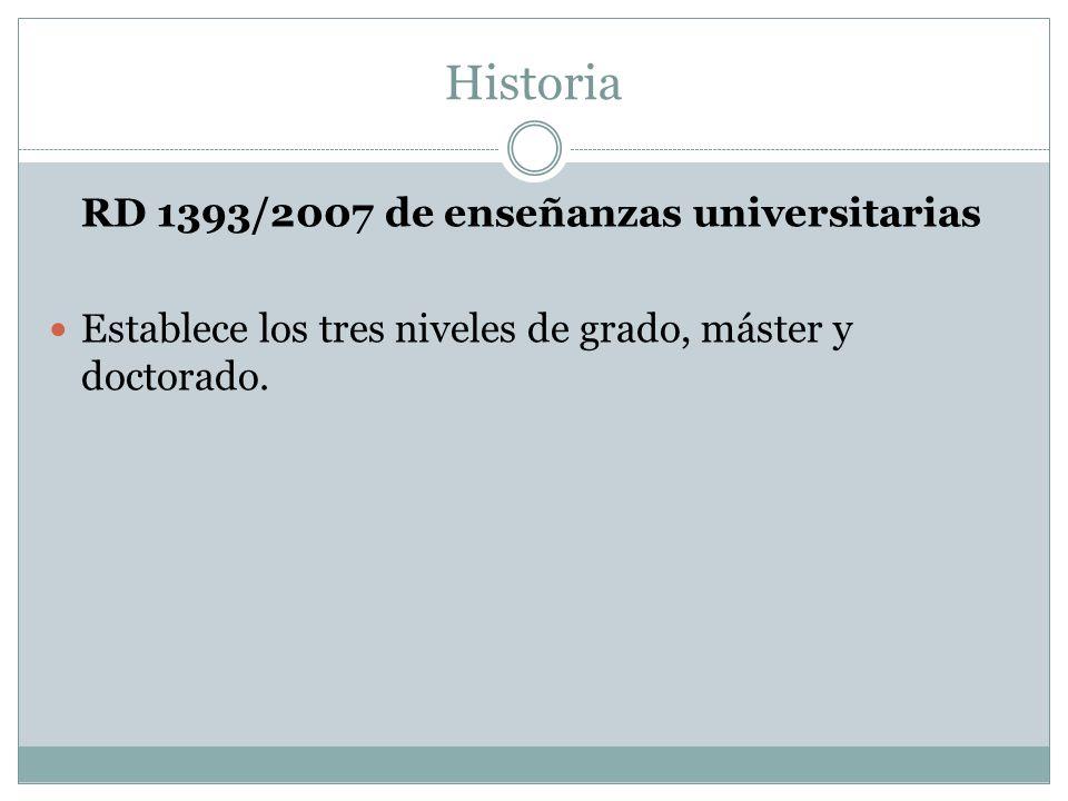 Historia RD 1393/2007 de enseñanzas universitarias