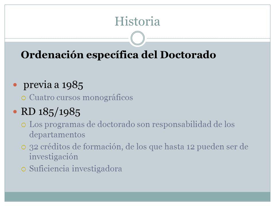 Historia Ordenación específica del Doctorado previa a 1985 RD 185/1985