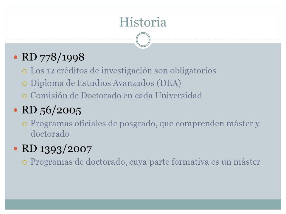 Historia RD 778/1998. Los 12 créditos de investigación son obligatorios. Diploma de Estudios Avanzados (DEA)