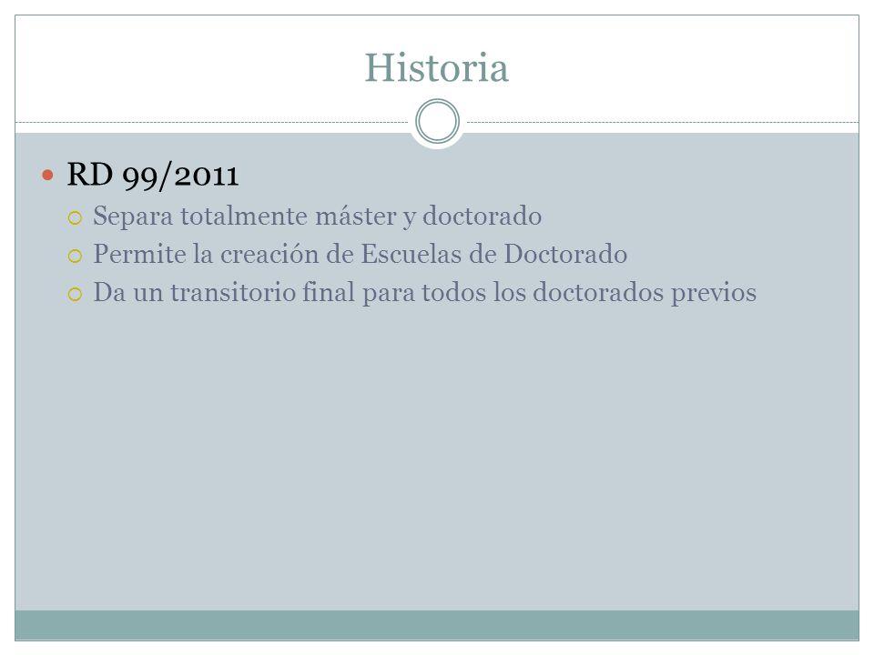 Historia RD 99/2011 Separa totalmente máster y doctorado