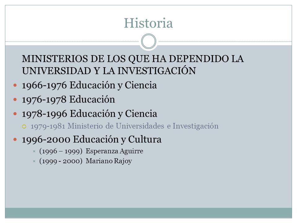 Historia MINISTERIOS DE LOS QUE HA DEPENDIDO LA UNIVERSIDAD Y LA INVESTIGACIÓN. 1966-1976 Educación y Ciencia.