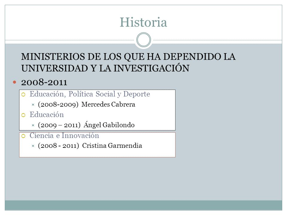 Historia MINISTERIOS DE LOS QUE HA DEPENDIDO LA UNIVERSIDAD Y LA INVESTIGACIÓN. 2008-2011. Educación, Política Social y Deporte.