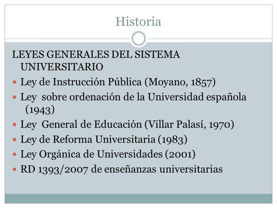 Historia LEYES GENERALES DEL SISTEMA UNIVERSITARIO