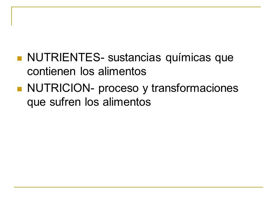 NUTRIENTES- sustancias químicas que contienen los alimentos