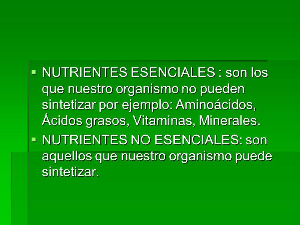 NUTRIENTES ESENCIALES : son los que nuestro organismo no pueden sintetizar por ejemplo: Aminoácidos, Ácidos grasos, Vitaminas, Minerales.