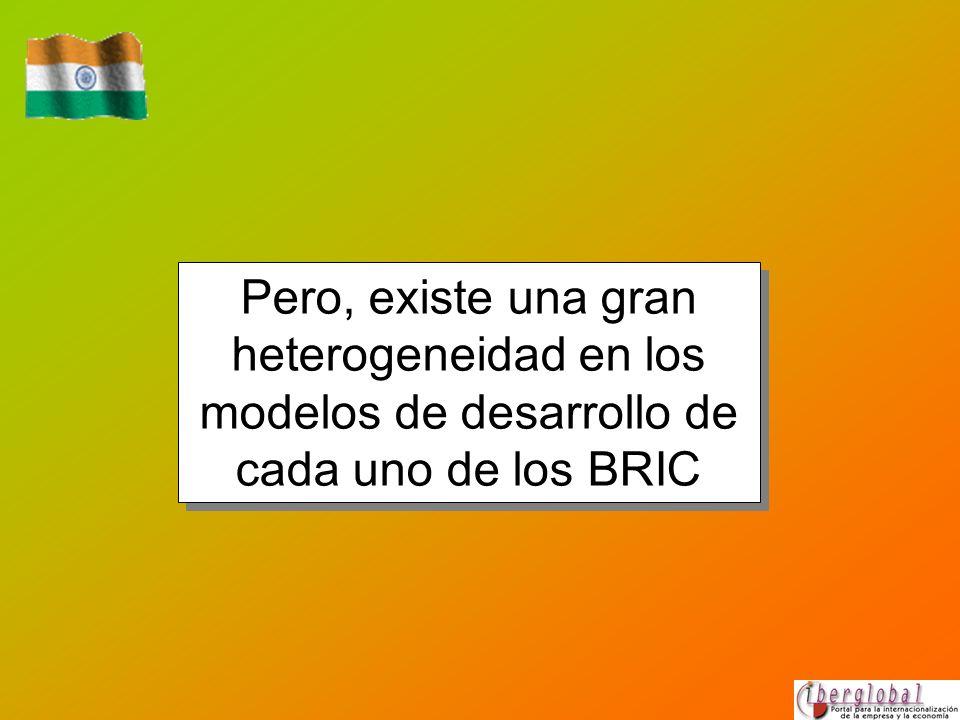 Pero, existe una gran heterogeneidad en los modelos de desarrollo de cada uno de los BRIC