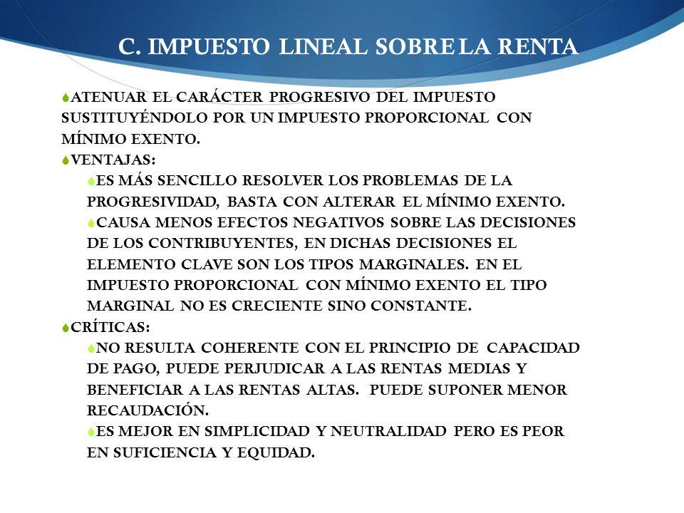 C. IMPUESTO LINEAL SOBRE LA RENTA