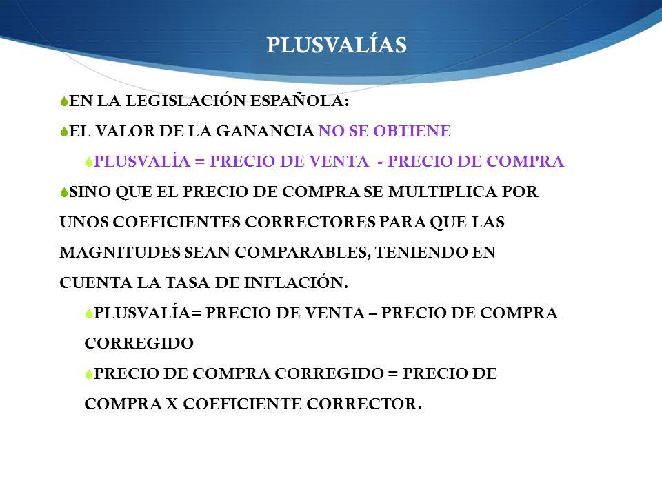 PLUSVALÍAS EN LA LEGISLACIÓN ESPAÑOLA: