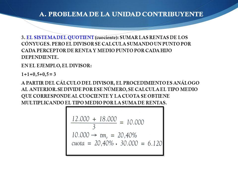 A. PROBLEMA DE LA UNIDAD CONTRIBUYENTE